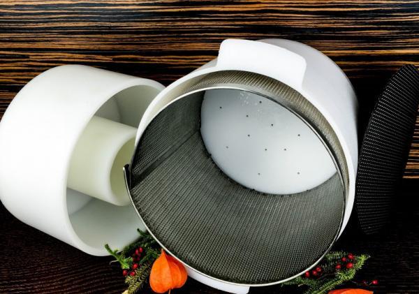 Форма для сыра Славянский, Российский до 4500 г с ручками - с поршнем под пресс с перфовставкой