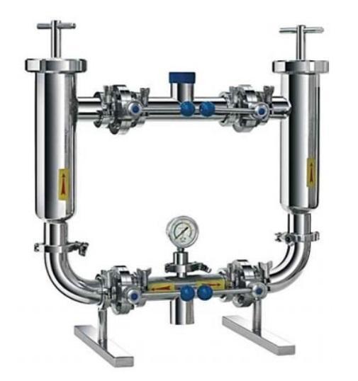 Система из двух спаренных фильтров с манометрами - для приема молока